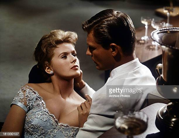 Connie Stevens seduces Troy Donahue in a scene from the film 'Susan Slade' 1961