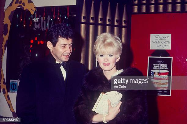 """Connie Stevens with Eddie Fisher at a private party after the show """"The Star Spangled Girl""""; circa 1970; New York."""