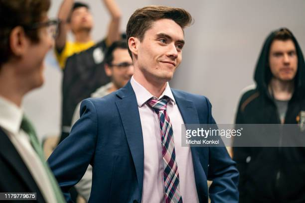 Connor Artemis Doyle of Clutch Gaming talks with his team during a break in the action as they play against Royal Youth in the League of Legends...