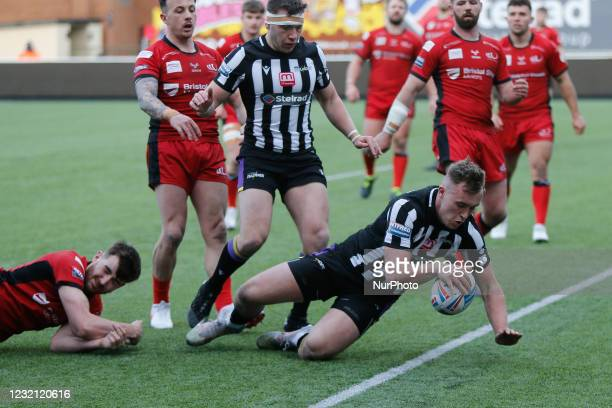 Connor Bailey of Newcastle Thunder scores during the BETFRED Championship match between Newcastle Thunder and Widnes Vikings at Kingston Park,...
