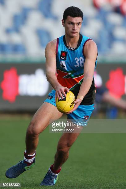Connor BALLENDEN of the Allies kicks the ball during the U18 AFL Championships match between Vic Metro and the Allies at Simonds Stadium on July 5...