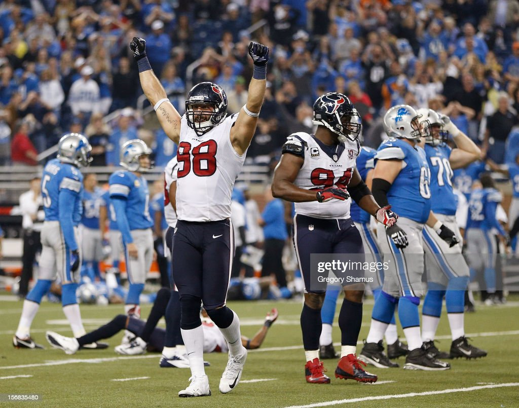 Connor Barwin #98 of the Houston Texans reacts after Jason Hanson #4 of the Detroit Lions misses an overtime field goal at Ford Field on November 22, 2012 in Detroit, Michigan. Houston won the game 34-31 in overtime.