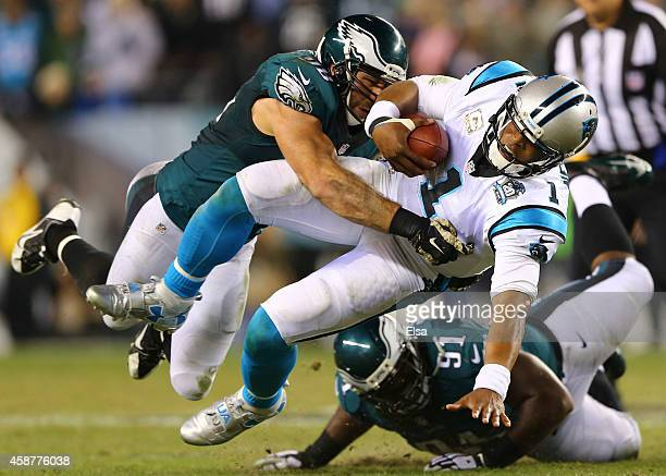 Connor Barwin of the Philadelphia Eagles sacks Cam Newton of the Carolina Panthers on November 10 2014 at Lincoln Financial Field in Philadelphia...