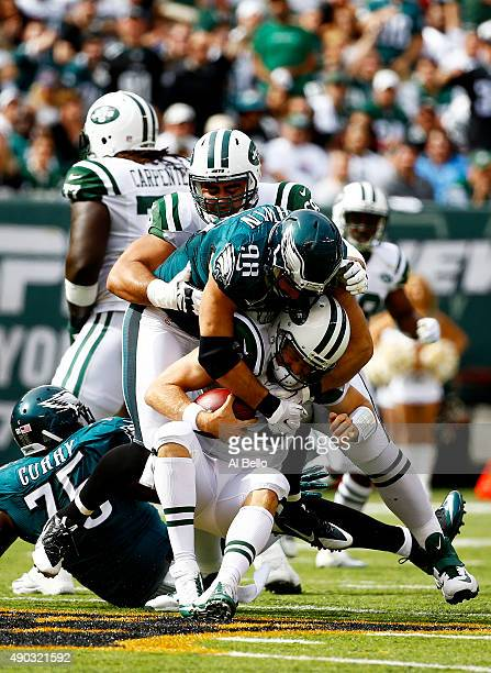 Connor Barwin of the Philadelphia Eagles sacks Ryan Fitzpatrick of the New York Jets in the second quarter at MetLife Stadium on September 27 2015 in...