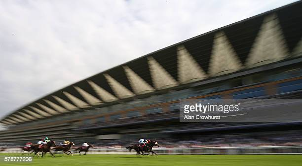 Connor Beasley riding Alpha Delphini win The SIS Live Handicap Stakes at Ascot Racecourse on July 22 2016 in Ascot England