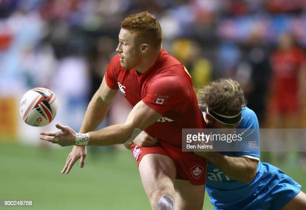 Connor Braid of Canada runs the ball against Uruguay during the Canada Sevens the Sixth round of the HSBC Sevens World Series at the BC Place stadium...
