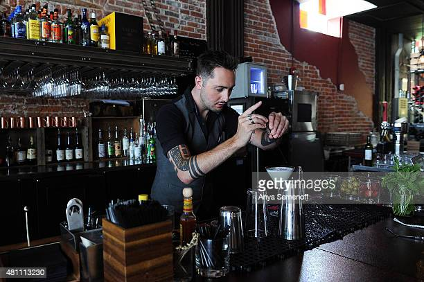 Connor Brown makes a Pisco Sour cocktail at Brik on York on July 9 in Denver Colorado Travis Gee opened Brik on York in June