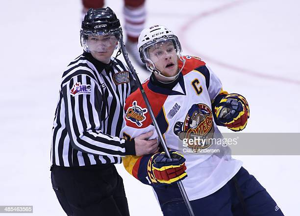 Connor Brown of the Erie Otters celebrates a goal against the Guelph Storm in Game One of the OHL Western Conference Final at the Sleeman Centre on...