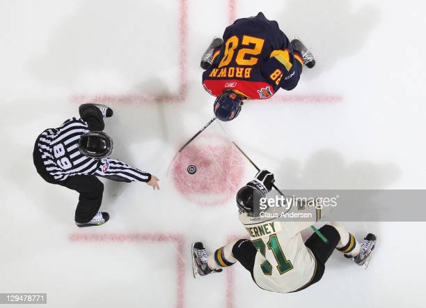 Connor Brown of the Erie Otters takes a faceoff against Chris Tierney of the London Knights in a game on October 14, 2011 at the John Labatt Centre...