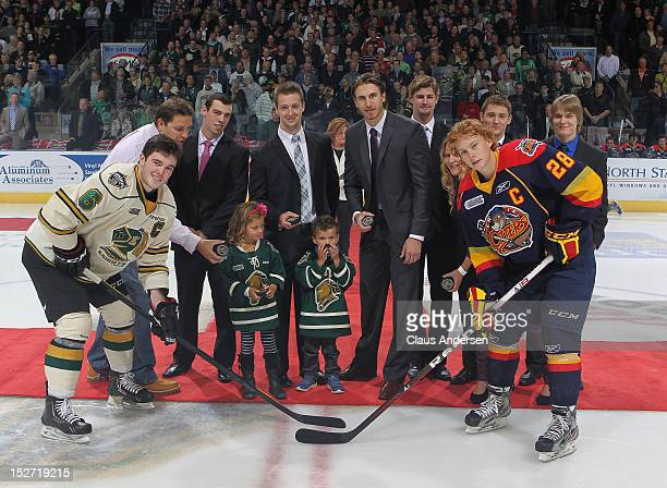 Connor Brown of the Erie Otters takes the ceremonial faceoff against Scott Harrington of the London Knights in an OHL game on September 21 2012 at...
