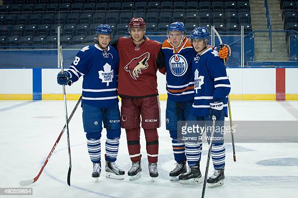Connor Brown of the Toronto Maple Leafs Dylan Strome of the Arizona Coyotes Connor McDavid of the Edmonton Oilers and Mitch Marner of the Toronto...