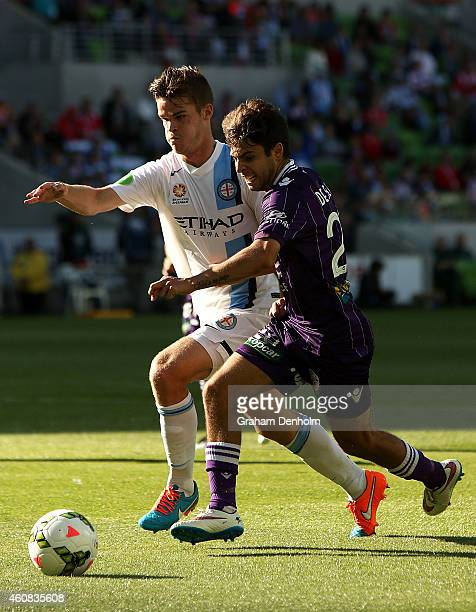 Connor Chapman of Melbourne City and Daniel De Silva of Perth Glory compete for the ball during the round 13 ALeague match between Melbourne City FC...