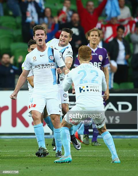 Connor Chapman of Melbourne City celebrates with team mates after scoring a goal during the round eight ALeague match between Melbourne City FC and...