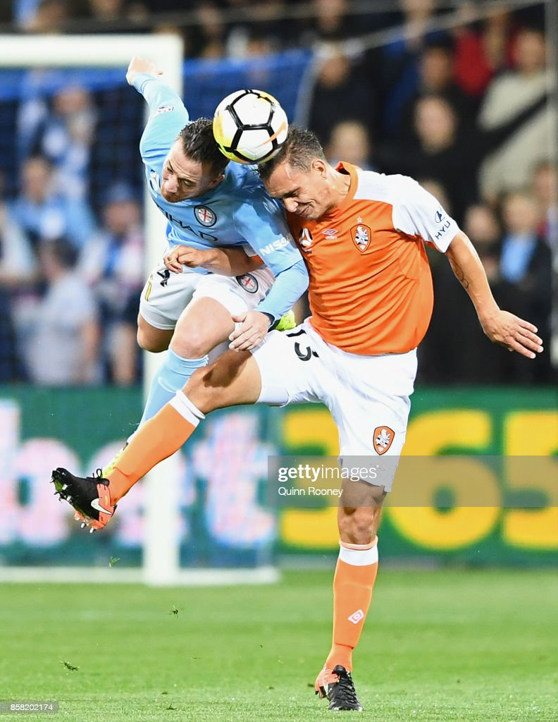 Connor Chapman of the City and Jade North of the Roar compete to head the ball during the round one A-League match between Melbourne City FC and the Brisbane Roar at AAMI Park on October 6, 2017 in Melbourne, Australia.