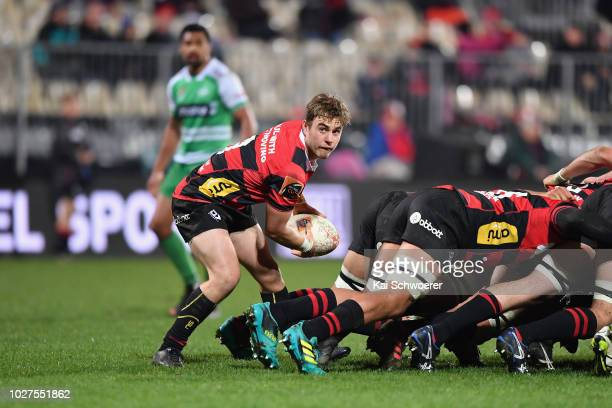Connor Collins of Canterbury looks to pass the ball during the round four Mitre 10 Cup match between Canterbury and Manawatu at AMI Stadium on...