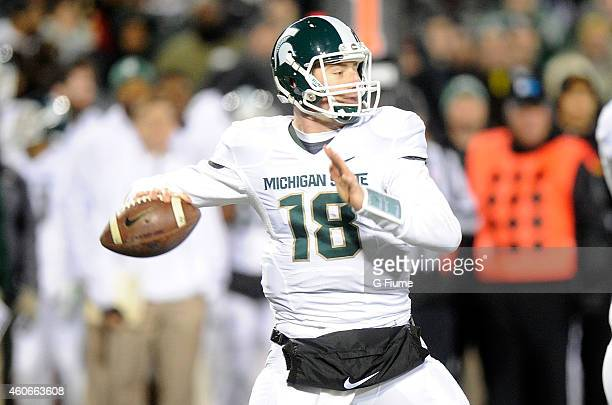 Connor Cook of the Michigan State Spartans throws a pass against the Maryland Terrapins at Byrd Stadium on November 15 2014 in College Park Maryland