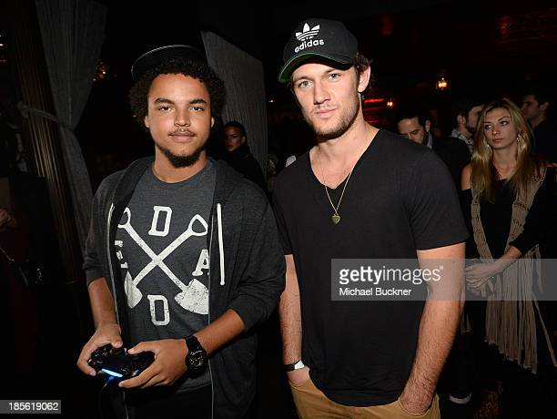Connor Cruise and actor Alex Pettyfer attend the Assasin's Creed IV Black Flag Launch Party at Greystone Manor Supperclub on October 22 2013 in West...