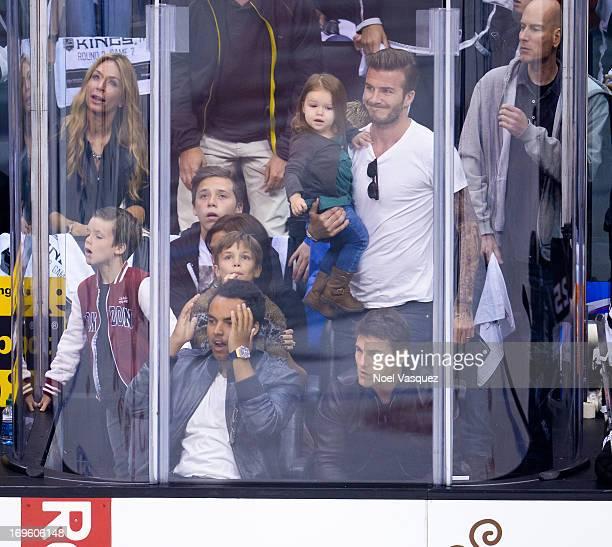 Connor Cruise Cruz Beckham Brooklyn Beckham Harper Beckham David Beckham and Tom Cruise attend an NHL playoff game between the San Jose Sharks and...