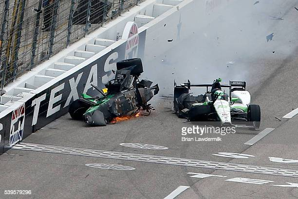 Connor Daly, driver of the Jonathan Byrd's Hospitality Honda, slides after contact with Josef Newgarden, driver of the Fuzzy's Vodka Chevrolet,...