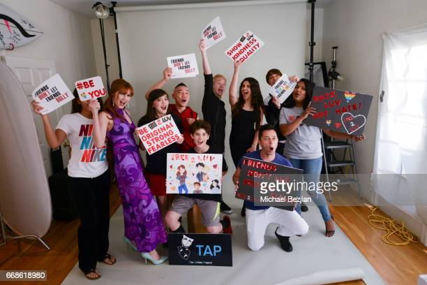 Connor Dean Chloe Noelle and Jax Malcolm pose for portrait at The Artists Project on April 12 2017 in Los Angeles California