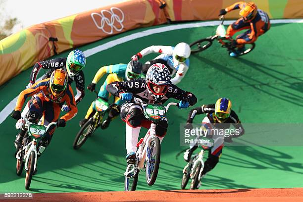 Connor Fields of the United States competes during the Men's BMX Final on day 14 of the Rio 2016 Olympic Games at the Olympic BMX Centre on August 19...