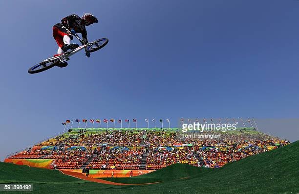 Connor Fields of the United States competes in the Cycling BMX - Men's Quarterfinals on Day 13 of the 2016 Rio Olympic Games at Olympic BMX Centre on...