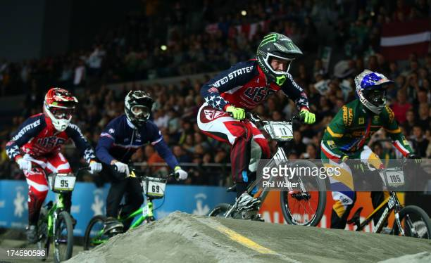 Connor Fields of the USA in action during day five of the UCI BMX World Championships at Vector Arena on July 28 2013 in Auckland New Zealand