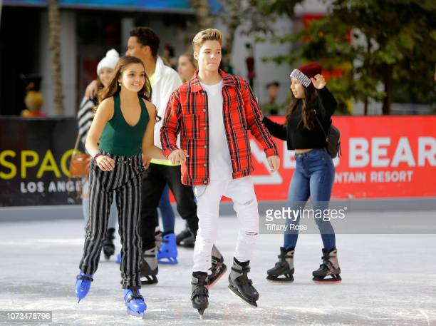 Connor Finnerty and guest attend Instagram's #Instaskate 2018 at LA Kings Holiday Ice LA Live on November 27 2018 in Los Angeles California