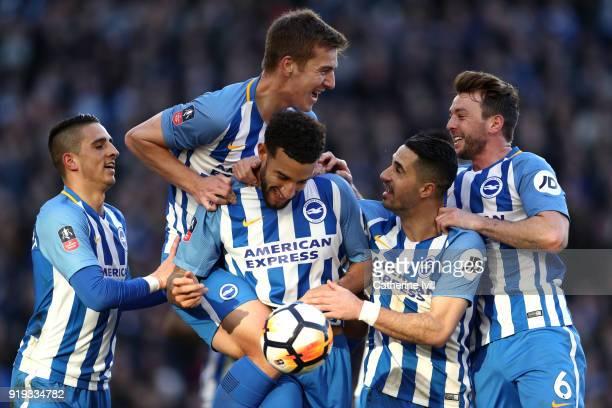 Connor Goldson of Brighton and Hove Albion celebrates scoring his side's second goal with team mates during the The Emirates FA Cup Fifth Round...