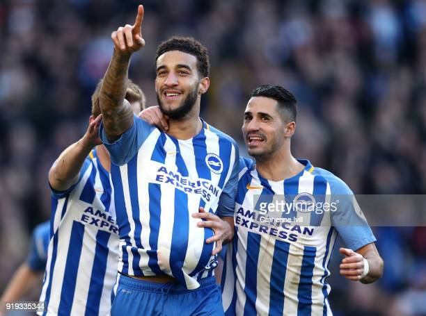 Connor Goldson of Brighton and Hove Albion celebrates scoring his side's second goal with Beram Kayal during the The Emirates FA Cup Fifth Round...