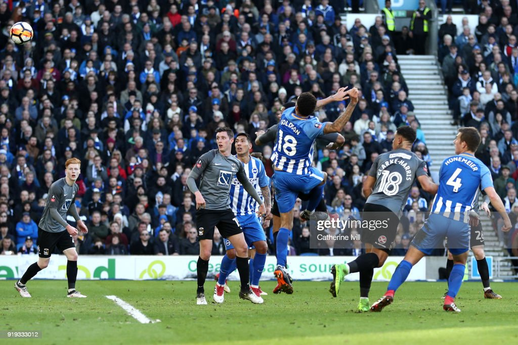 Connor Goldson of Brighton and Hove Albion scores his side's second goal during the The Emirates FA Cup Fifth Round between Brighton and Hove Albion v Coventry City at Amex Stadium on February 17, 2018 in Brighton, England.