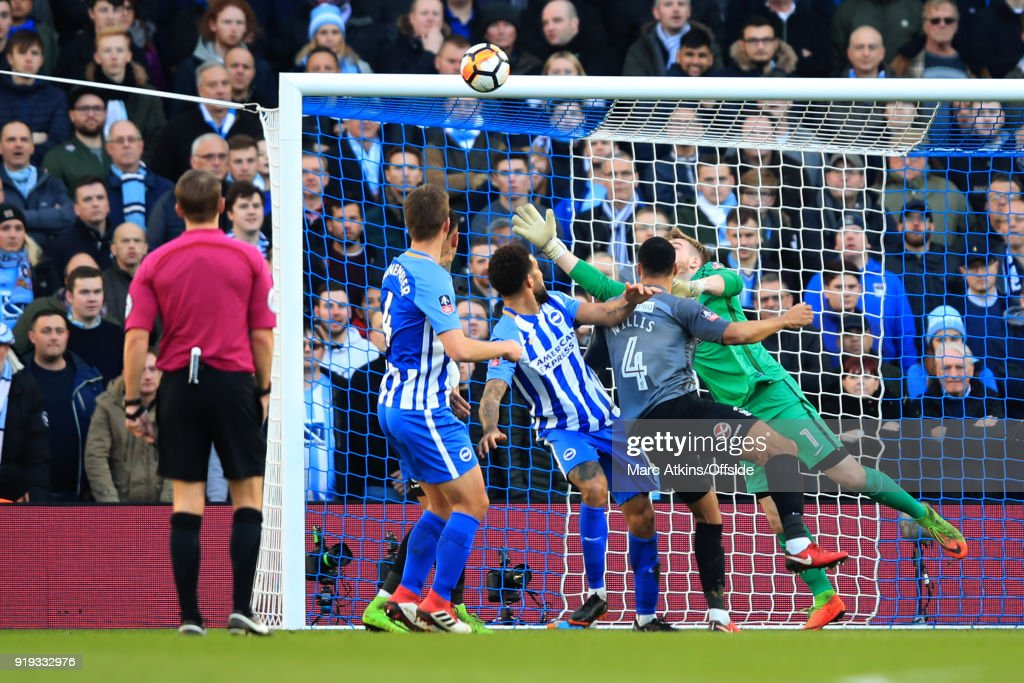 Connor Goldson of Brighton and Hove Albion scores their 2nd goal during the FA Cup Fifth Round match between Brighton and Hove Albion and Coventry City at Amex Stadium on February 17, 2018 in Brighton, England.