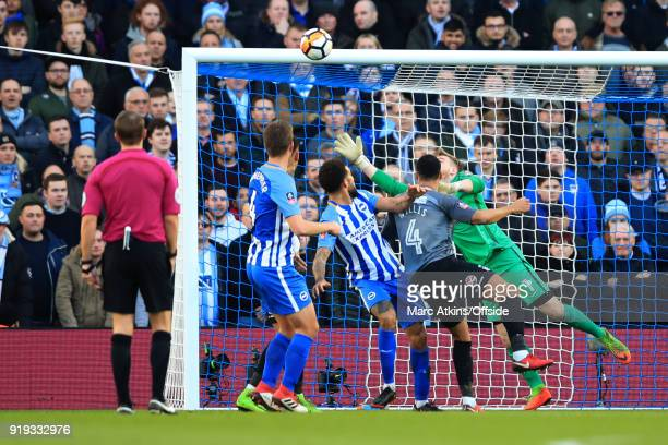 Connor Goldson of Brighton and Hove Albion scores their 2nd goal during the FA Cup Fifth Round match between Brighton and Hove Albion and Coventry...