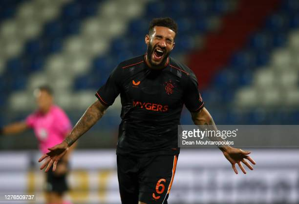 Connor Goldson of Rangers celebrates after he scores his sides fourth goal during the UEFA Europa League third qualifying round match between Willem...