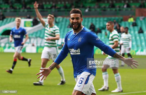 Connor Goldson of Rangers celebrates after scoring his team's first goal during the Ladbrokes Scottish Premiership match between Celtic and Rangers...
