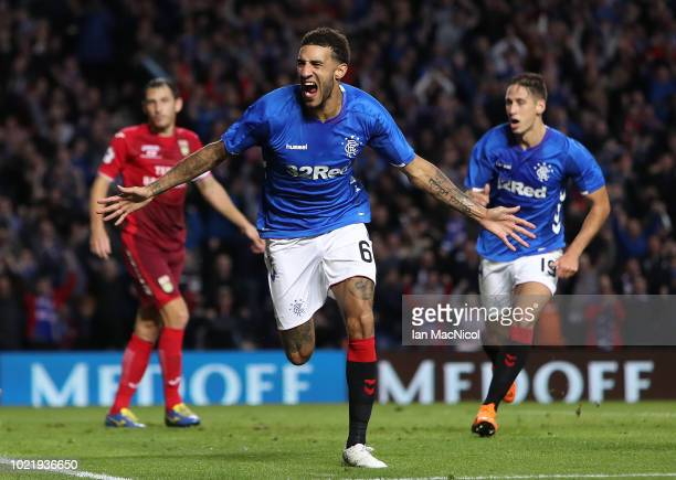 Connor Goldson of Rangers celebrates after scoring his team's opening goal during the first leg of the UEFA Europa League Play Off match between...