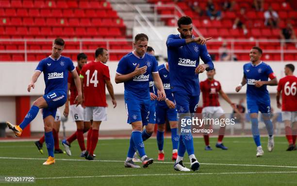 Connor Goldson of Rangers celebrates after scoring his team's second goal during the UEFA Europa League second qualifying round match between Lincoln...