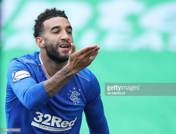 Connor Goldson of Rangers celebrates after scoring his team's second goal during the Ladbrokes Scottish Premiership match between Celtic and Rangers...