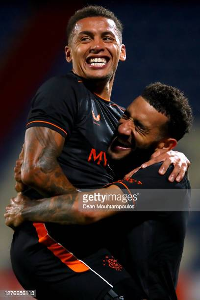Connor Goldson of Rangers celebrates scoring his teams fourth goal of the game with team mate James Tavernier during the UEFA Europa League third...