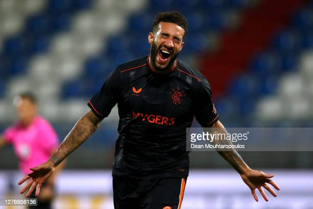 Connor Goldson of Rangers celebrates scoring his teams fourth goal of the game during the UEFA Europa League third qualifying round match between...