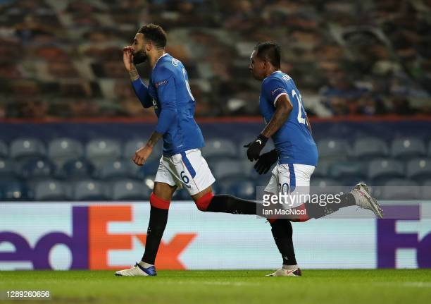 Connor Goldson of Rangers celebrates with Alfredo Morelos after scoring their team's first goal during the UEFA Europa League Group D stage match...