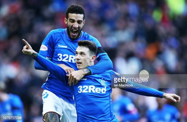 Connor Goldson of Rangers celebrates with Ryan Jack of Rangers after he scores the only goal of the game during the Ladbrookes Scottish Premiership...