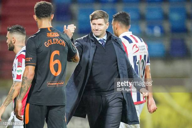 Connor Goldson of Rangers FC, manager Steven Gerrard of Rangers FC after the UEFA Europa League third qualifying round match between Willem II and...