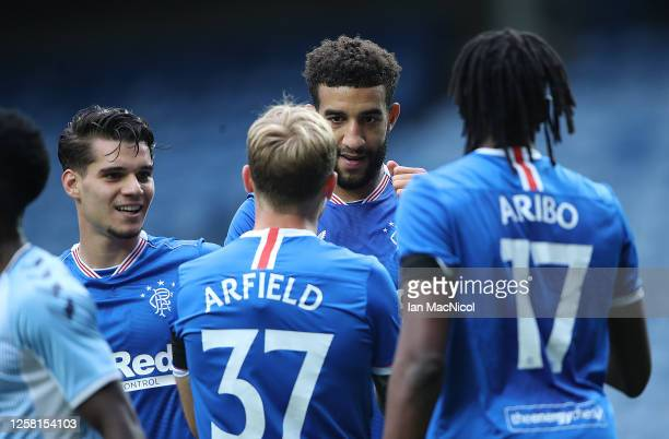 Connor Goldson of Rangers reacts after he scores his team's second goal during the pre season friendly match between Rangers and Coventry City at...