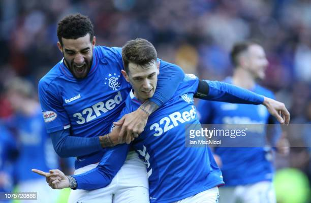 Connor Goldson of Rangers reacts after Ryan Jack of Rangers scores the opening goal reacts during the Ladbrookes Scottish Premiership match between...