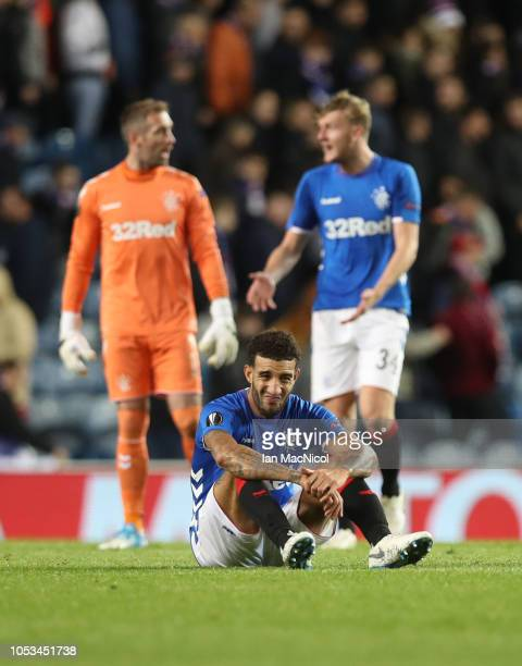 Connor Goldson of Rangers reacts at full time during the UEFA Europa League Group G match between Rangers and Spartak Moscow at Ibrox Stadium on...