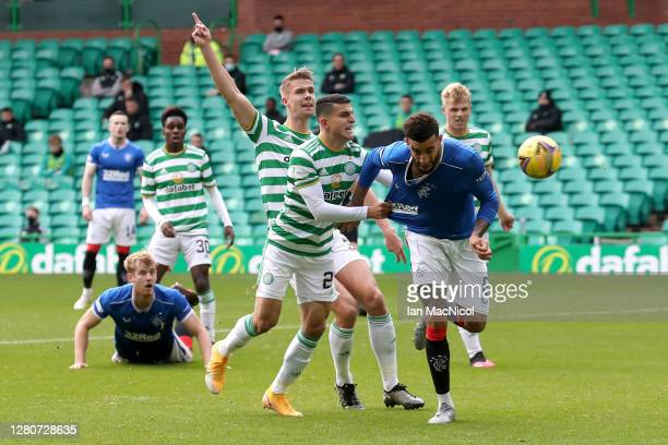Connor Goldson of Rangers scores his team's first goal during the Ladbrokes Scottish Premiership match between Celtic and Rangers at Celtic Park on...