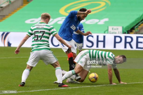 Connor Goldson of Rangers scores his team's second goal during the Ladbrokes Scottish Premiership match between Celtic and Rangers at Celtic Park on...