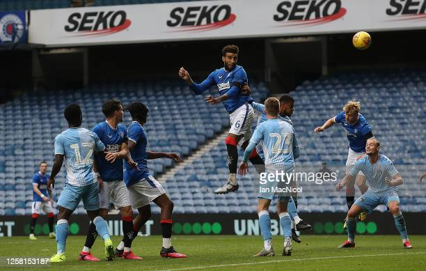 Connor Goldson of Rangers scores his team's second goal during the pre season friendly match between Rangers and Coventry City at Ibrox Stadium on...
