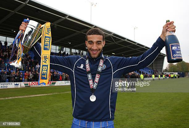 Connor Goldson of Shrewsbury Town celebrates at full-time following the Sky Bet League Two match between Shrewsbury Town and Plymouth Argyle at...